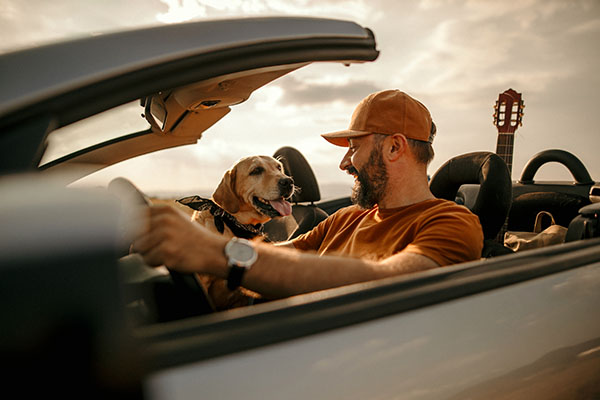 Man in new car with dog