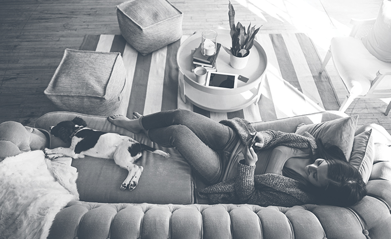 Lady and dog on couch